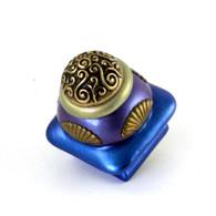 Mini Tudor square knob 1.5 inhces colored in lapis,periwinkle with gold  metal details
