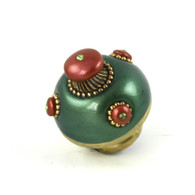 Nu mini style #9 knob in emerald and coral 1.5 inches diameter