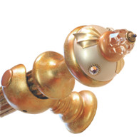 "Jumbo BIRDIE Alabaster DRAPERY HARDWARE SET WITH 4 ft. WOODEN REEDED ROD 1 3/4"" DIAMETER"