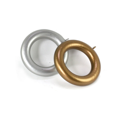 Wooden Drapery Rings in gold and silver paint finish fit rods 2 in. diameter.