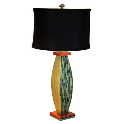 Celery Sal lamp with shallow drum shade in black silk has paint treatment in aqua, citrine green and copper