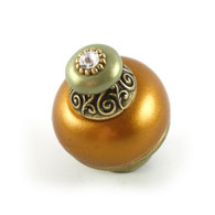 Nu Duchess Knob Deep Goldl 1.5 Inches Diameter with gold metal details and Swarovski crystal.