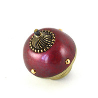 Nu mini style 5 knob garnet 1.5 inches diameter with gold metal accents.