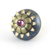 Mini Ivy Knob Turquoise 2 Inches Diameter with gold metal details and Swarovski amethyst crystal