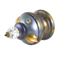 Jumbo Finial Birdie in light sapphire and periwinkle with gold metal details and swarovski crystals.