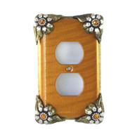 Bloomer Single duplex outlet cover sunflower with silver metal details and topaz crystals