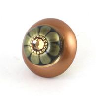 Mini Tiki Knob Amber 2 Inches Diameter has gold metal accents and light smoke topaz crystal.