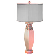 posh pam  table lamp with shallow drum shade in gray dupioni silk