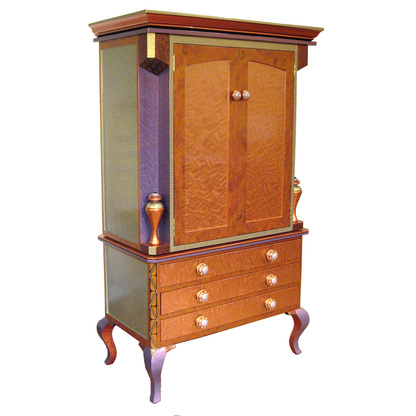 Diva Armoire 2 piece storage and media cabinet in amber and deep opal paint finish