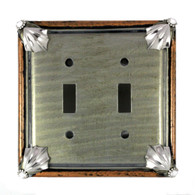 Cleo double toggle switch cover in deep opal and amberwith silver metal details and crystal