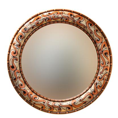 """Aurora Mirror 36"""":round in Sequoia color scheme"""