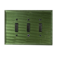 Glass Triple Toggle Switch Cover Emerald