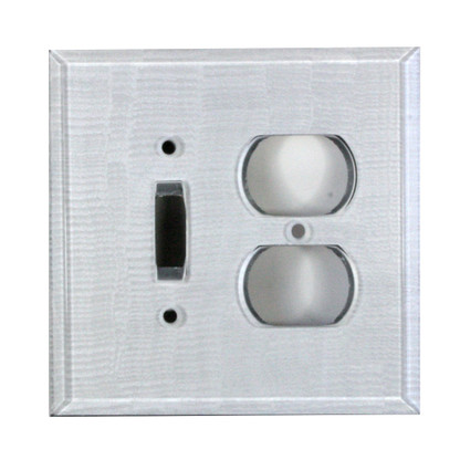 Silver Glass duplex outlet toggle switch cover
