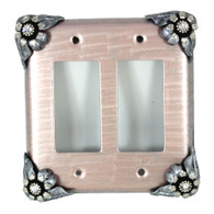 Bloomer Double decora switch cover with silver metal details and crystal.
