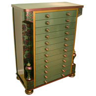 Contessa accessory armoire jewelry chest in emerald and garnet paint finish