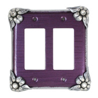 Bloomer Violet Double decora switch cover in with silver metal details and crystal.