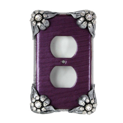 Bloomer violet single duplex outlet with silver metal and crystal