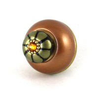 Nu Tiki Knob Amber 1.5 In. Diameter with gold metal details and topaz crystal