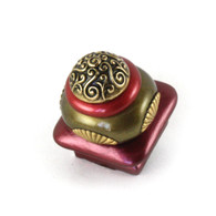 Mini Tudor square knob 1.5 inches colored in garnet and bronze with gold metal details.
