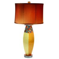 Gilda Glam Table lamp with shallow drum shade in silk copper