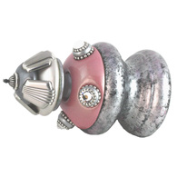 Jumbo Finial Tut in lush pink and alabaster has silver metal details and Swarovski crystals