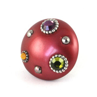 Mini Style 6 Knob Ruby 2 Inches Diameter