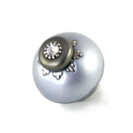 Nu lily knob light sapphire 1.5 inches diameter has silver metal accents and crystal