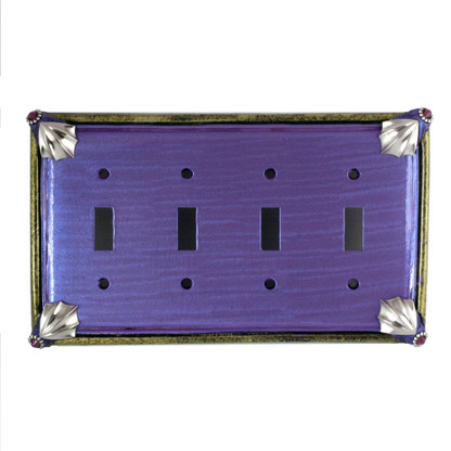 Cleo quad toggle switch plate in periwinkle with silver metals and amethyst crystals.