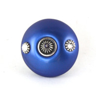 Mini Style 1 Knob Lapis 2 In.Diameter with silver metal accents and Swarovski crystals.