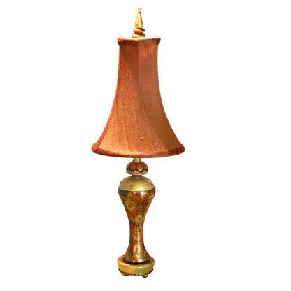 Accent Lamp Citrine Syl with silk bell shade pecan