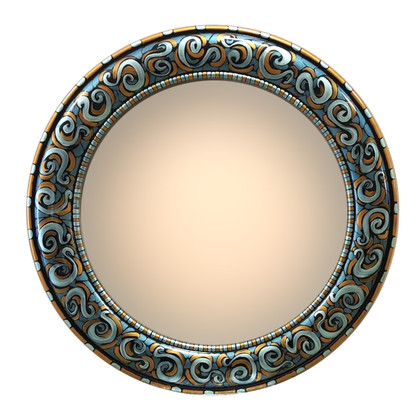 "Aurora Mirror 36"" round in Aegean color scheme"