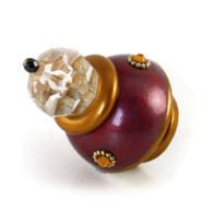 Small Parfum knob garnet and deep gold with gold metal details and topaz crystal