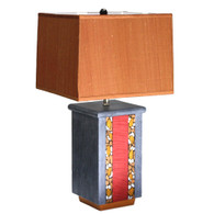 Olio table lamp in ruby, deep gold and rustic oak with soft rectangular box shade in pecan