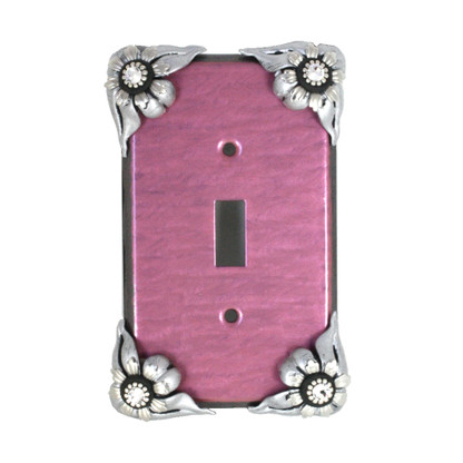 Bloomer Orchid single toggle switch cover with silver metal and crystal details