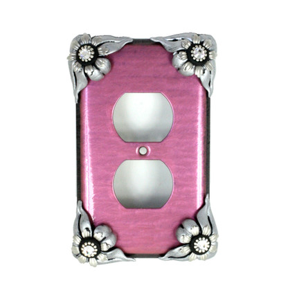 Bloomer Single Duplex Outlet Cover Orchid with silver metal details and crystal
