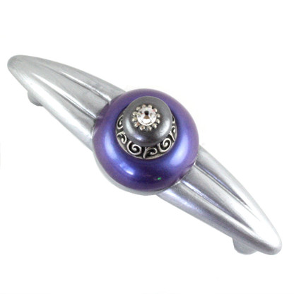 Duchess periwinkle orbit pull 5.25 in. with 4 in.hole span and silver metal accents and crystal