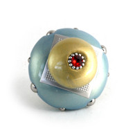 "Mini Kyle Knob 2"" diameter in opal and light gold with silver metal details and Siam Red crystal"