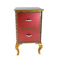 Jitterbug file cabinet in Olio finish  a combination of stained  wood and  painted artwork
