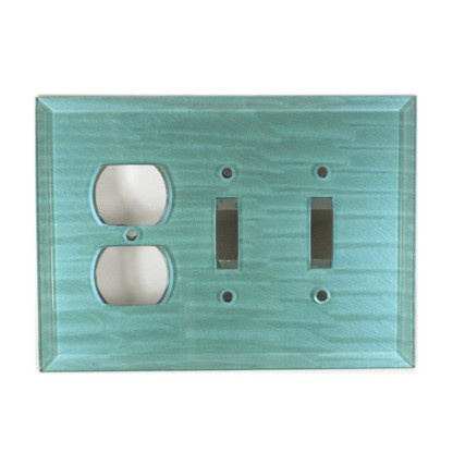 Aqua Glass Combo 2 Toggle 1 outlet switch cover