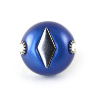 Nu Mini Style #2 knob lapis 1.5 inches diameter with silver metal accents and swarovski  crystals.