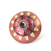 "MIni Poppy cabinet knob 2"" diameter with gold metal details and Swarovski amethyst crystal"