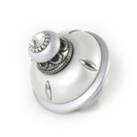Isabella knob 2.5 in. diameter in alabaster and silver with silver metal details and Swarovski crystal