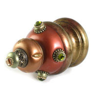 Jumbo Finial Isabella in copper amber and jade has gold metal details and olivine crystals.