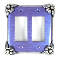 Bloomer Iris Double Decora Switch Cover with silver metal details and crystal