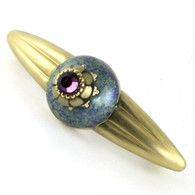 Ivy turquoise orbit pull 5.25 inches with 4 inch hole span and  gold metal accents and Swarovski amethyst crystal