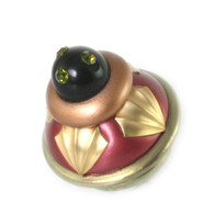 "Erte Ruby Amber knob 2.5"" diameter with black cabochon and olivine crystals"