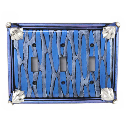 Cleo Triple Toggle Switch Cover in Lapis Vines finish