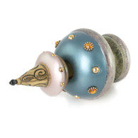 Finial Merlin in aqua and light bronze with gold metal accents and topaz crystals.
