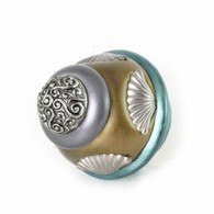 Round Tudor knob 2  inches diameter colored in aqua, bronze and moonstone with silver metal accents.