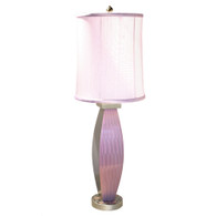 Lilac Lu Lamp with Cylinder shade in Orchid silk has ripple and mosaic paint finish in mauve and deep opal